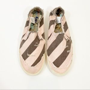 KEDS Distressed Striped Slip On Sneaker Size 9